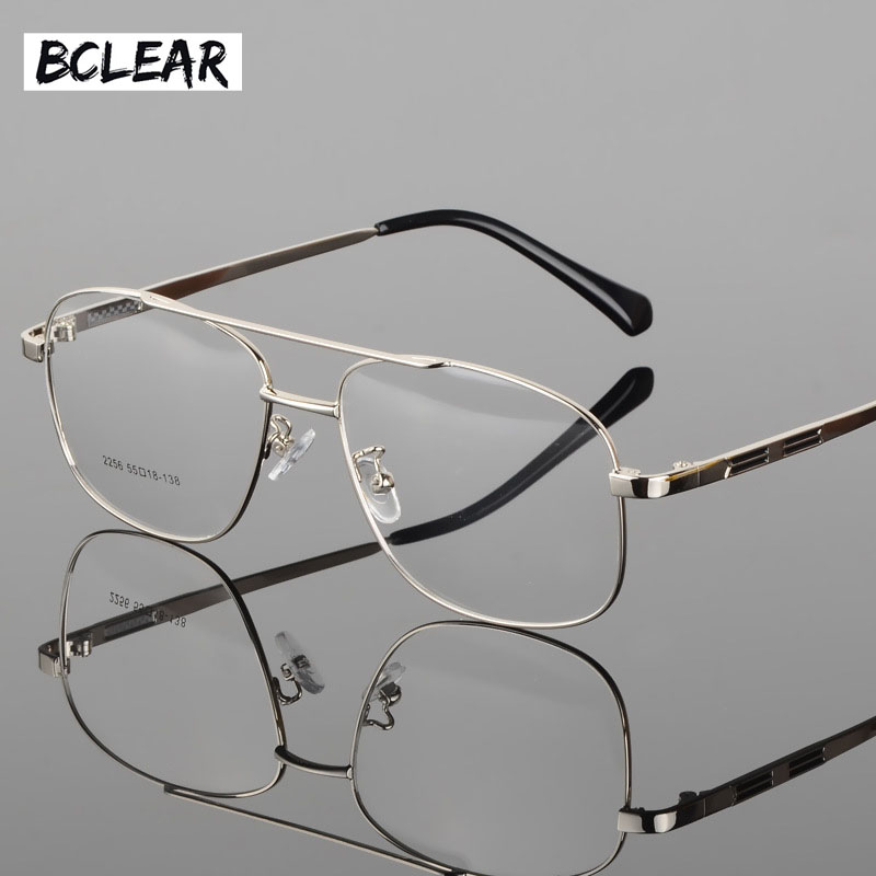 BCLEAR Classic Fashion Alloy Men Optical Frame High Quality Double Bridge Male Spectacle Eyeglasses Frames Big Face Eyewear Hot image