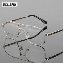 BCLEAR klasik moda alaşım erkekler optik çerçeve yüksek kaliteli çift köprüsü erkek gözlük gözlük çerçeveleri büyük yüz gözlük sıcak