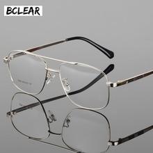 Bclear クラシックファッション合金メンズ光学フレーム高品質のダブルブリッジ男性眼鏡眼鏡フレームビッグフェイス眼鏡ホット