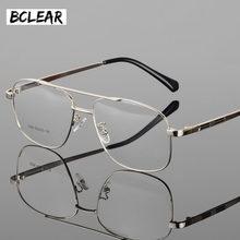 9c2138597ebe9a BCLEAR Klassieke Mode Legering Mannen Optische Frame Hoge Kwaliteit Dubbele  Brug Mannelijke Spektakel Brillen Frames Grote Gezic.