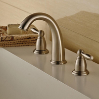 Vidric Waterfall Faucet Nickel Brushed Basin Faucets Deck Mounted Bathroom Tap Sink Bathtub Faucet 2 handles Faucet Mixer Crane