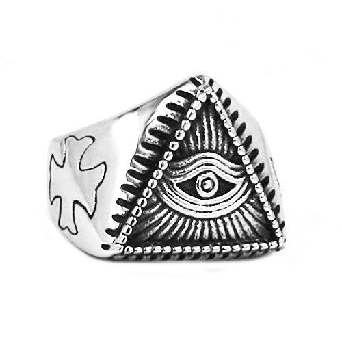 Illuminati Pyramid Eye Symbol Ring Stainless Steel Jewelry High