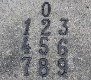 30 números de puerta de Metal de hierro fundido números de puerta dirección de calle NÚMERO DE TELÉFONO rústico marrón antiguo alfabeto A-Z, 0-9 y montaje en pared