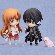 "2 pcs/lot 4 ""Nendoroid Anime Épée Art En Ligne SAO Kirito et Asuna Q Version PVC Action Figure Collection Modèle jouet"