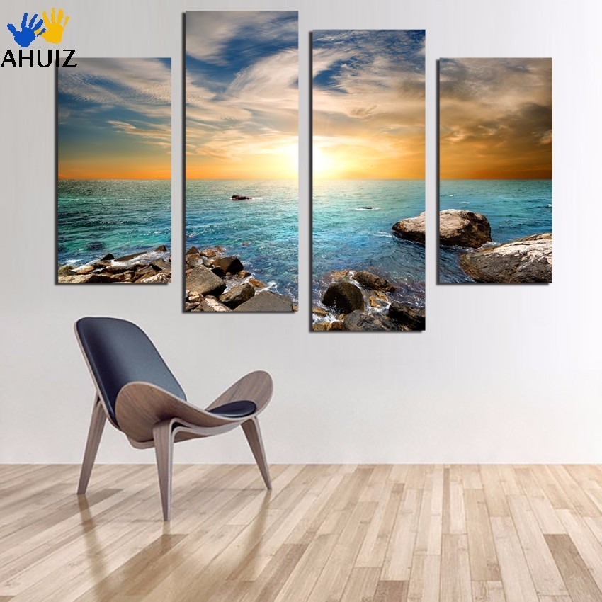 Framed Ready To Hang or with frame 4piece sea stone Print On Canvas Painting Art Picture Home Decoration For Living Room F1766