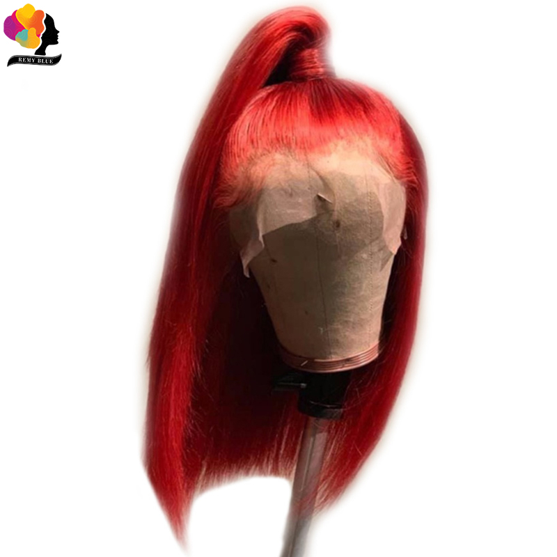 Remyblue 13X4 Short Bob Lace Front Human Hair Wigs T1B 99J Ombre Red Wine Colored Wig Brazilian Straight Remy Hair 150% Density