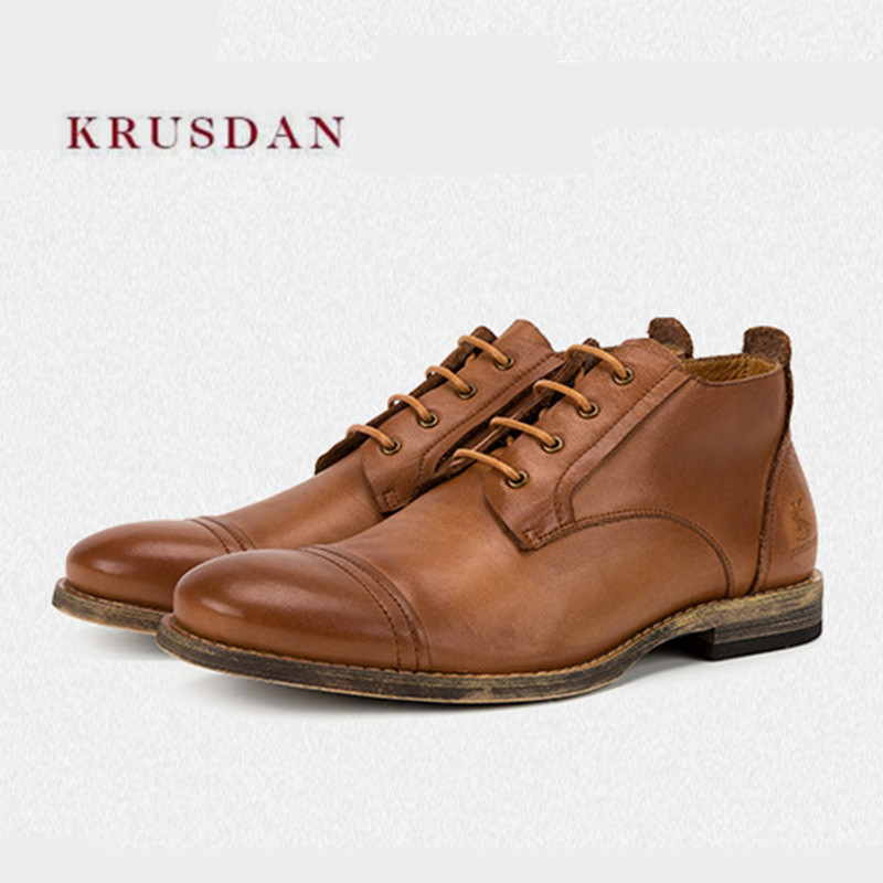 KRUSDAN Brand Fashion Winter Short Boots Men Martin Ankle Boots Handmade Brown Genuine Leather Shoes Men Lace Up Autumn Flats z suo brand autumn winter men s genuine leather tooling boots lace up brush off cow leather handmade men ankle boots