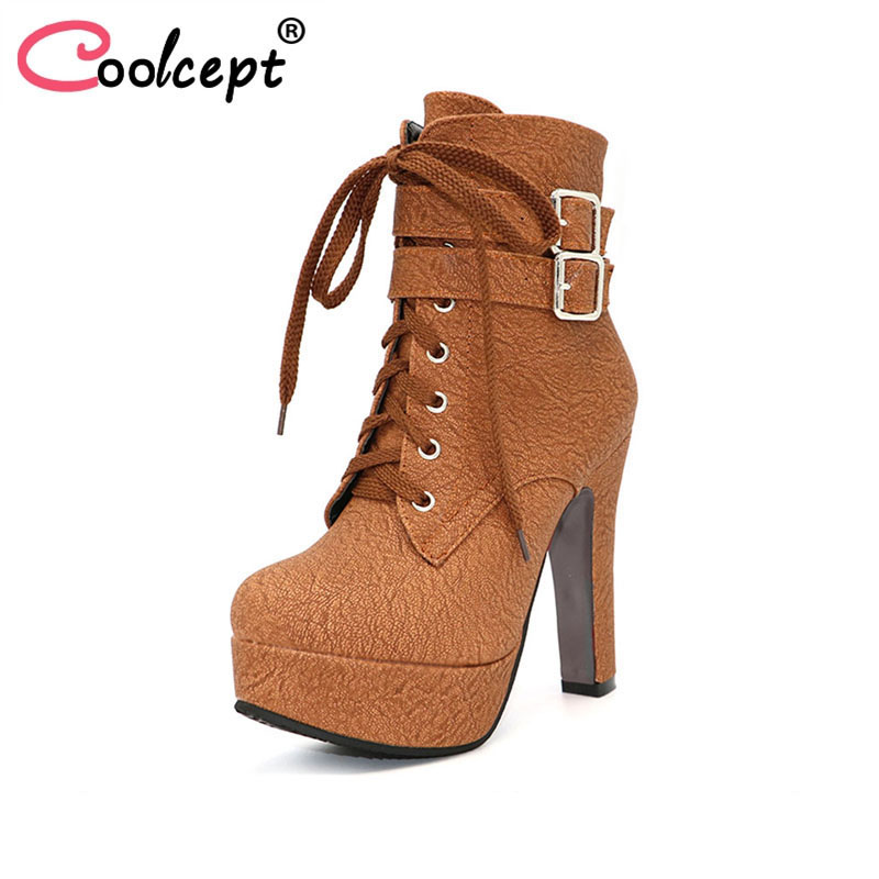Coolcept Fashion Women Boots High Heels Ankle Boots Platform Shoes Brand Women Shoes Autumn Winter Botas Mujer Size 30-48 ankle boots women black pu leather extreme high heels zipper autumn brand platform women s shoes motorcycle boots botas mujer