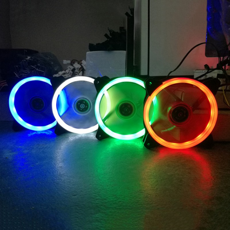 New Style Computer 120mm LED Fan <font><b>120</b></font> MM Fan Ring Guide Light Blue Red Green High Quality Computer Cooling fan <font><b>cooler</b></font> For CPU image