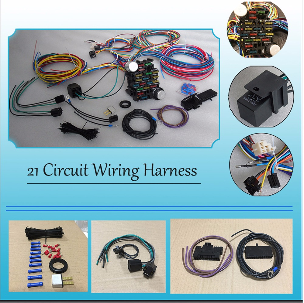 8 pcs free shipping cnch 21 circuit 17 fuses box universal wiring harness  hot universal extra long wires|cables, adapters & sockets| - aliexpress  aliexpress