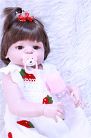 NPKCOLLECTION 55cm Soft Silicone Reborn Dolls Baby Realistic Doll Reborn 22 Inch Full Vinyl Boneca with Strawberry white skirt