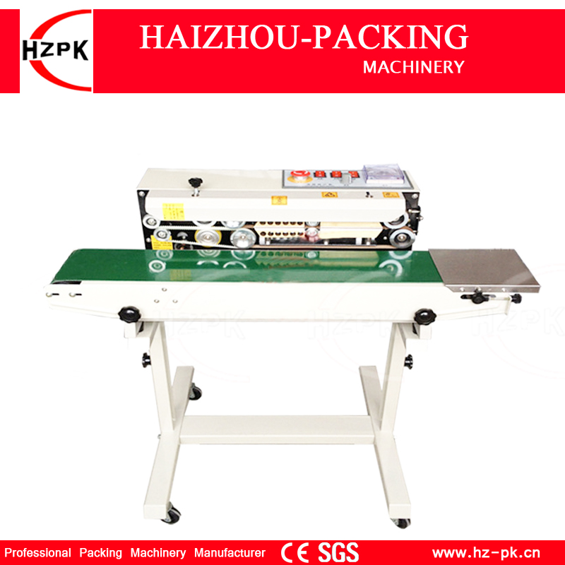 HZPK Automatic Vertical Type Stainless Iron Body With Spray Sealer Continuous Plastic Film Sealing Machine With Conveyor FR770 automatic bag sealing machines
