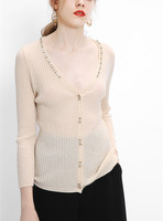 high quality 100%wool knitted women's fashion crystal beads cardigan sweater 3quarter sleeve beige M/L
