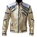 Rare PUNK Rock Motocicleta Clásico MJ MICHAEL JACKSON Beat it Chaqueta de Cremallera de Oro de Vestuario Para Los Aficionados Imitador Mejor Regalo