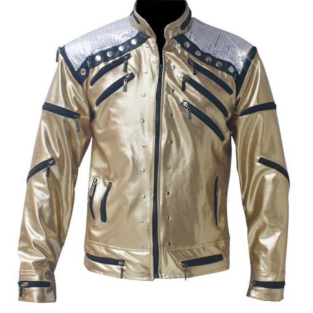 Rare PUNK Rock Motorcycle Classic MJ MICHAEL JACKSON Costume Beat it Golden Zipper Jacket For Fans Imitator Best Gift