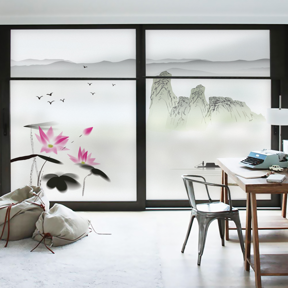 Static glass window film Frosted Opaque Privacy Glass Sticker Home Decor Digital print Chinese landscape style In Water And Aryl in Decorative Films from Home Garden