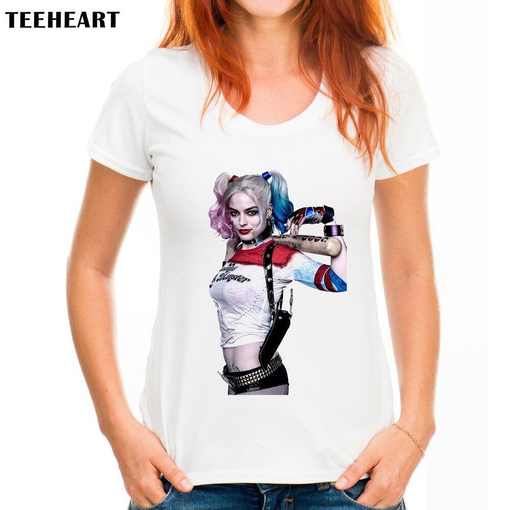 Harley Quinn TEEHEART Streetwear Verão Das Mulheres Em Torno Do ...