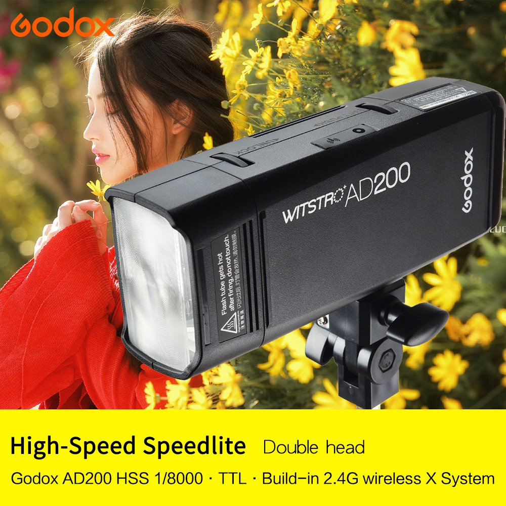AD200 Pocket Flash Light Double Head 200Ws with 2900mAh Lithium Battery Flashlight TTL 2.4G HSS 1/8000s Original from Godox+gift new arrival godox pocket flash ad200 ttl 2 4g wireless x system hss 1 8000s double head with 2900mah lithium battery pack flash
