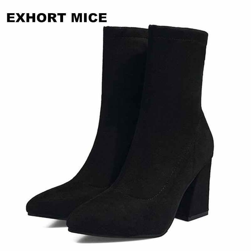 ホット女性の靴セクシーなジップアップ正方形ハイヒールパーティーの女性のブーツ冬のトップ品質