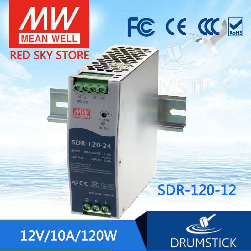 Genuine MEAN WELL SDR-120-12 12V 10A meanwell SDR-120 12V 120W Single Output Industrial DIN RAIL with PFC Function