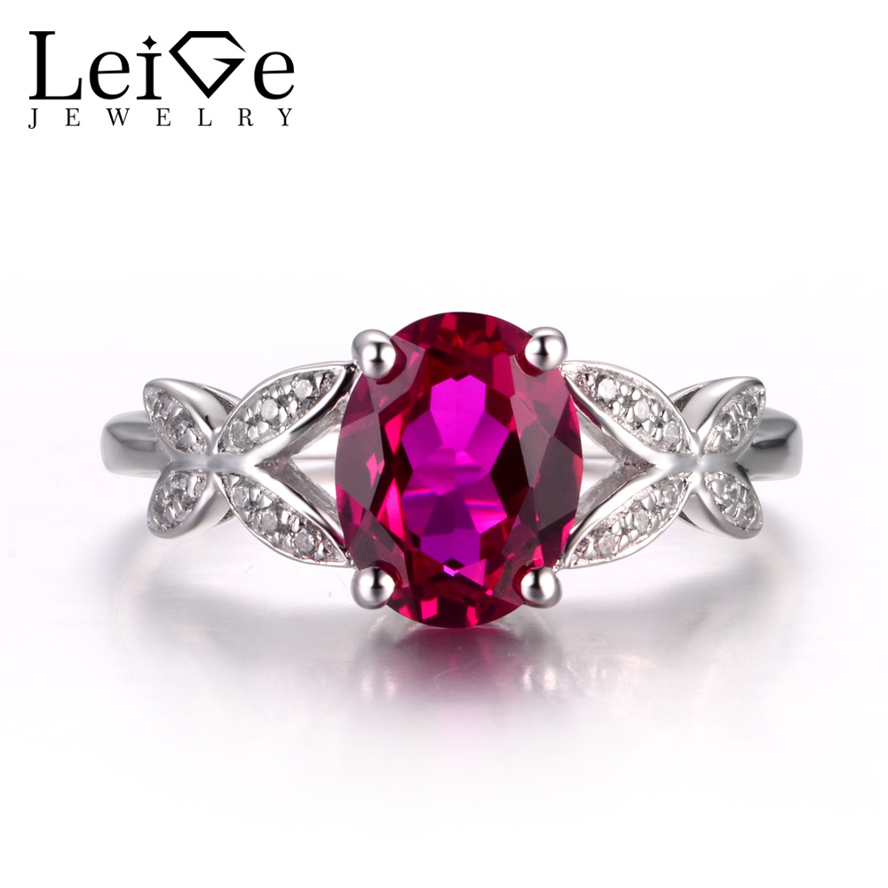 LeiGe Jewelry Ruby Proposal Rings July Birthstone Rings Oval Cut Red Gemstone Ring 925 Sterling Silver Fine Jewelry for Women