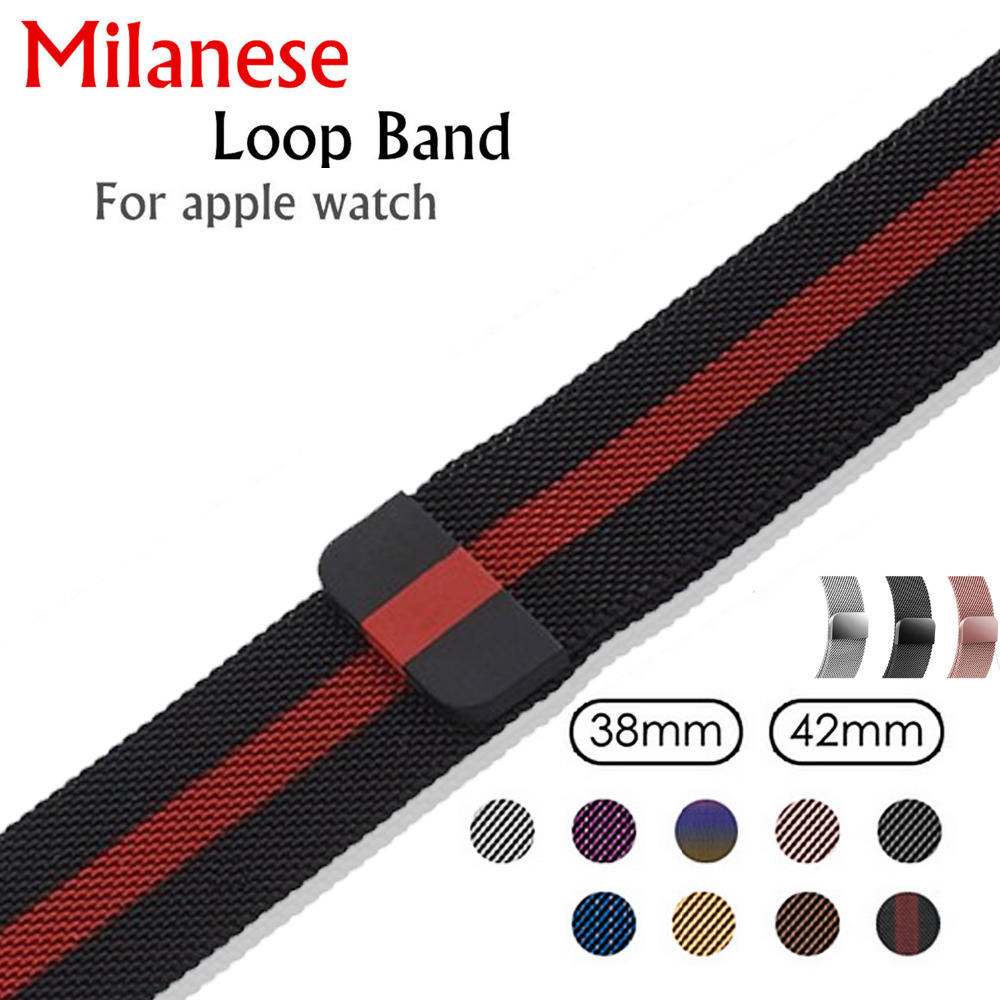 EIMO Milanese Loop band For Apple Watch 4 44mm 40mm 42mm 38mm Pulseira Iwatch series 3/2/1 link Bracelet Wrist Strap Watchband цена