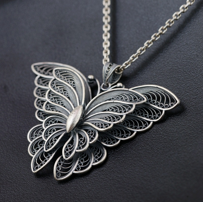 Real Silver Emperor jewelry line 990 sterling silver, silver style The butterfly shape pendant female delicate simple gifts сумка emperor mk20380 2014