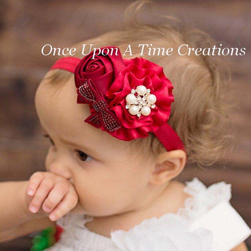 Baby Girls Flower Headbands Rose Pearl Headwear Kids Hair Accessories 2015 New Fashion Style Hot Sell W095