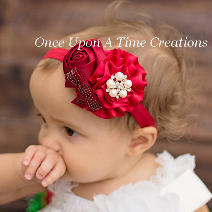 Bebê meninas Headbands rosa pérola Headwear crianças acessórios de cabelo 2015 nova moda venda quente W095