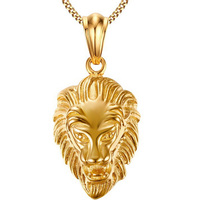 New Arrival Stainless Steel Necklace With Pendant Lion Necklace For Men Gold Plated Chain Necklace Mens
