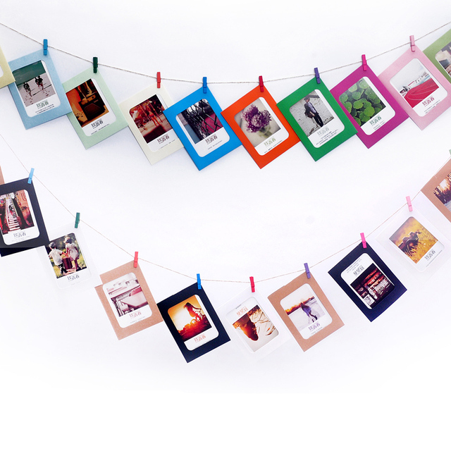 1 Set Diy Cardboard Hanging Photo Frame With Clip Retrato Picture