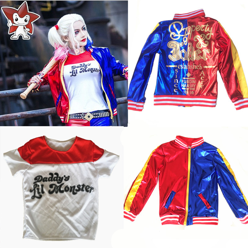 Girls Kids Suicide Squad Harley Quinn Cosplay Costumes Joker Printed Jacket Daddy's Lil T Shirt Shorts Halloween Costumes