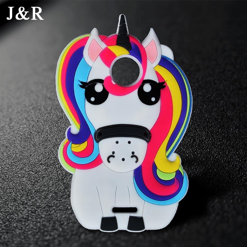 Galleria fotografica Fashion Soft Silicone Case for Motorola Moto C XT1750 XT1754 Cute 3D Cartoon Rainbow Unicorn Horse Mobile Cover Phone Cases