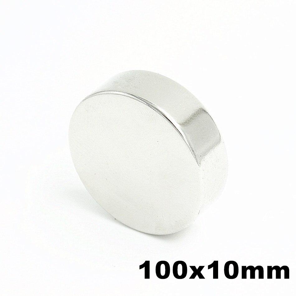 1 pièces 100x10mm Super puissant forte en vrac petit rond NdFeB néodyme disque aimants Dia 100mm x 10mm N35 terre Rare NdFeB aimant
