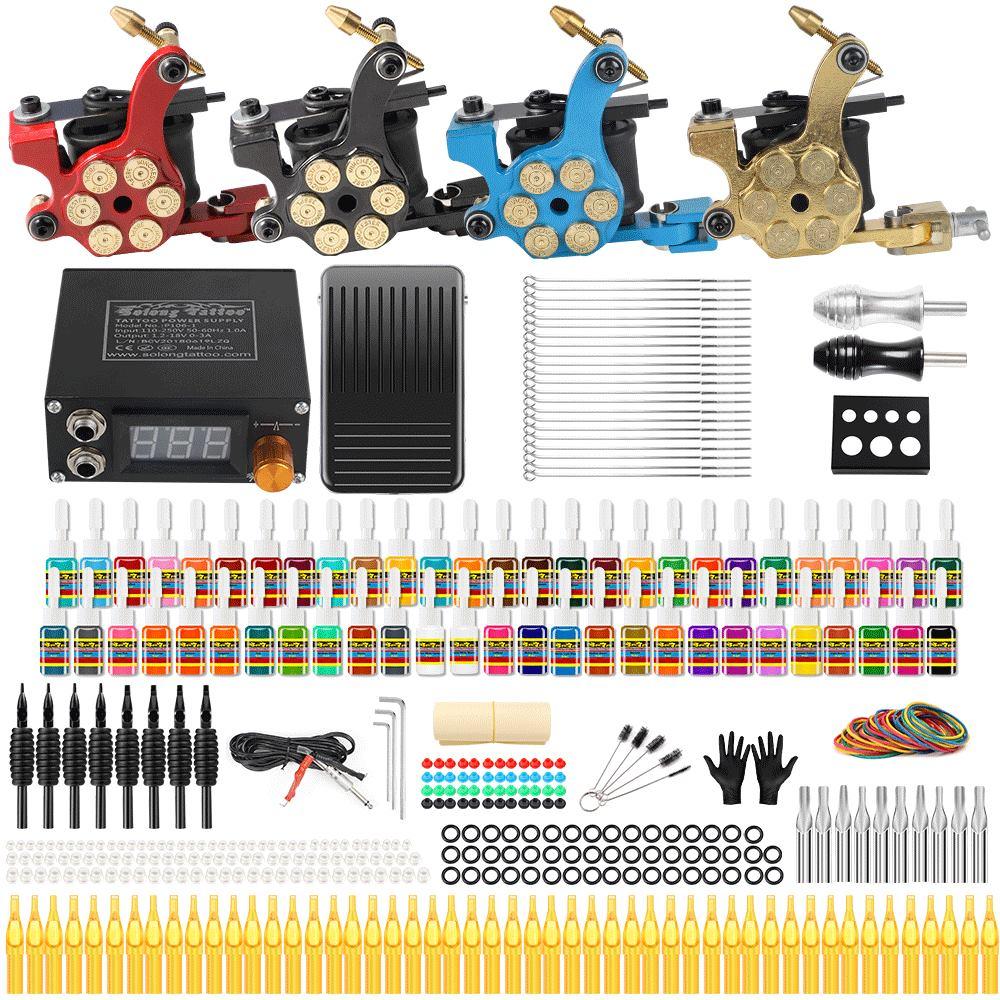 Solong Tattoo Complete Tattoo Kit 4 Pro Rotary Machine Guns Set 54 Inks 5ML Power Supply Needle Grips TK458 полочная акустика canton cd 1020 black high gloss