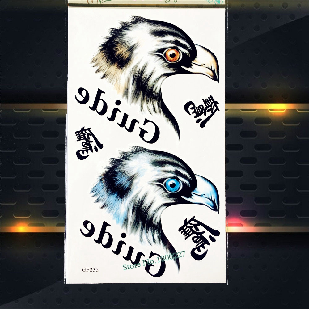 Cool Eagle Head Temporary Tattoo Supplies Kids Body Art ARm Tattoo Men Sticker PGF235 Waterproof Fake Flash Tattoos Shoulder Leg