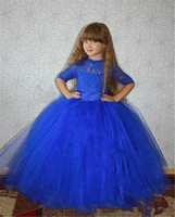 2018 Lovely Jewel Neck Royal Blue Girl's Pageant Dresses Tulle Lace up Back Flower Girl Dresses Kids Birthday Party Dresses