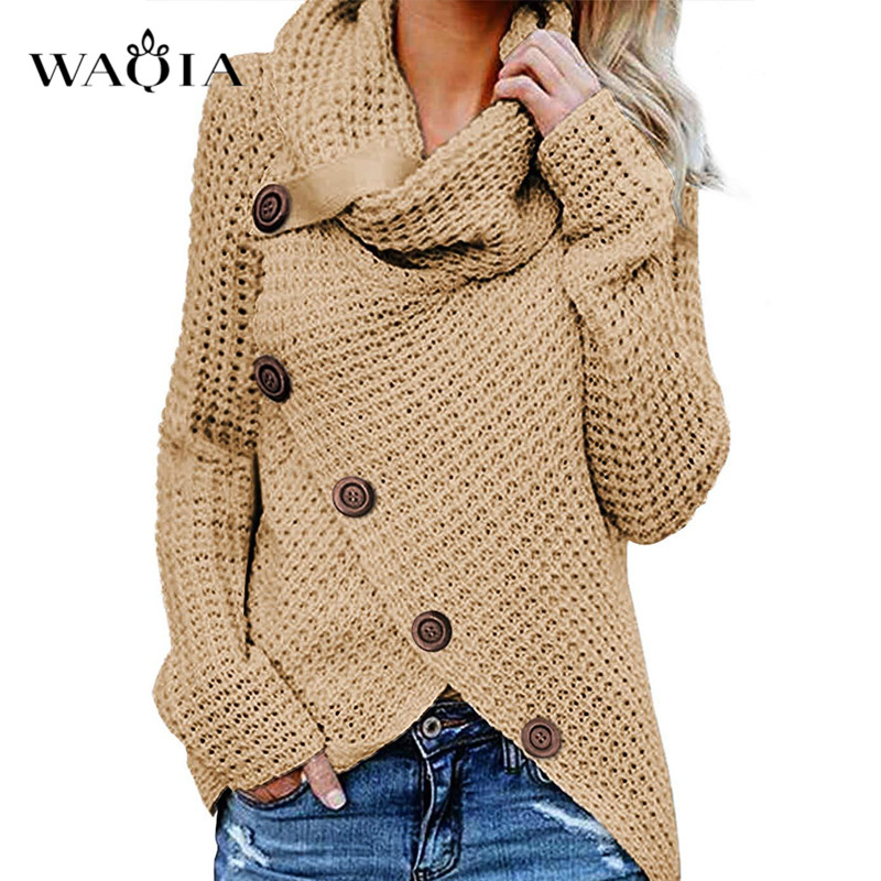 Autumn New Women Sweater Casual Loose Turtleneck Knitted Jumpers 2019 Long Batwing Sleeve Crocheted Pullovers Streetwear Winter