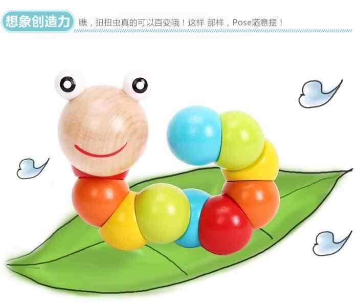 Сменная форма червь твист кукольный гусеница дети красочные познание playmate весело развивающие подарок дерево детские игрушки