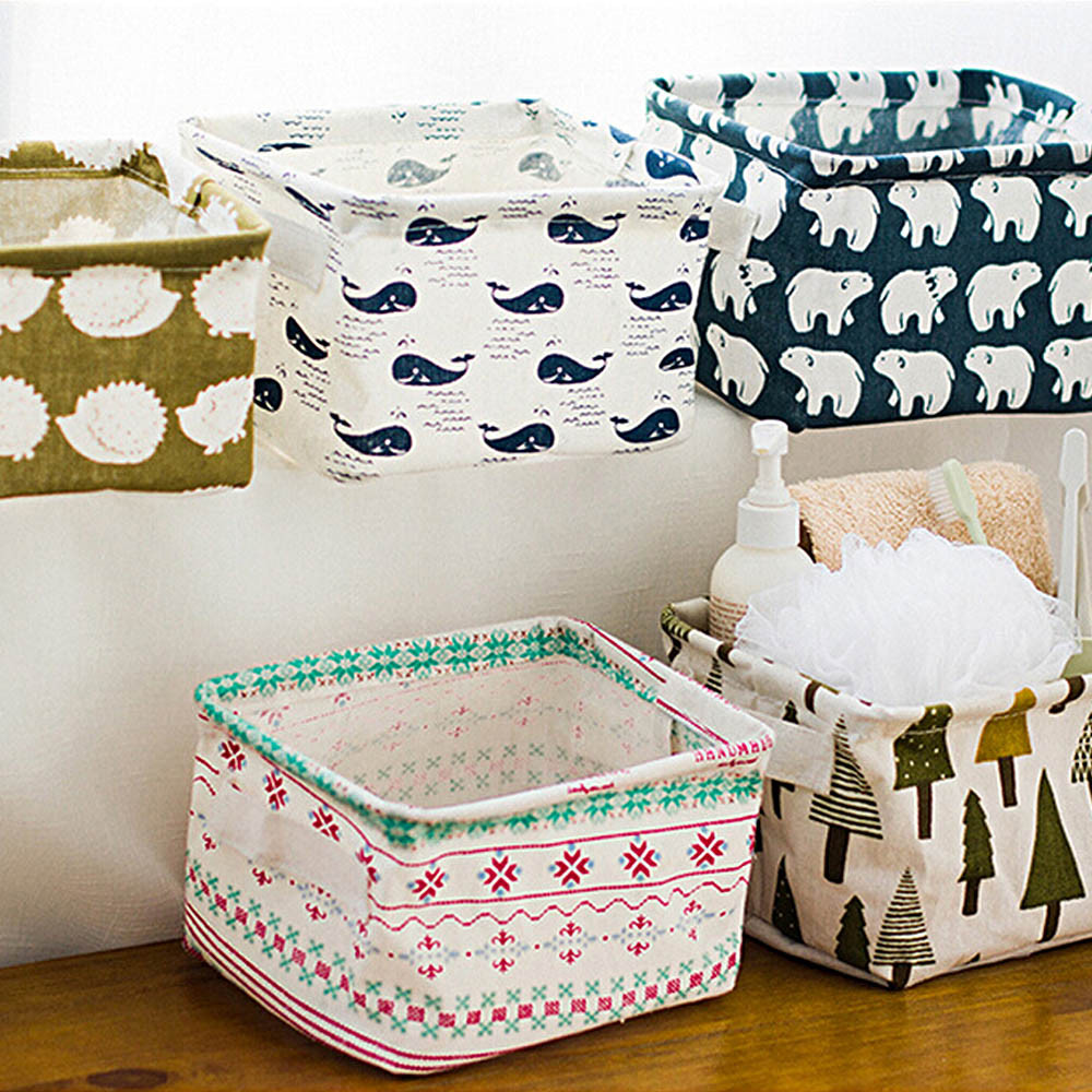 Cute Animal Printing Cotton Linen Office Desktop Storage Organizer Sundries Storage Box Cabinet Underwear Storage Basket #555