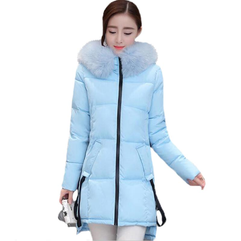New 2017 Winter Women Padded Jacket Fur Collar Hooded Cotton Coat Thicken Warm Long Outerwear Female Loose Plus Size PW0669 2016 new hot winter thicken warm woman cotton padded wadded jacket coat parkas outerwear hooded fur collar long plus size 3xxxl