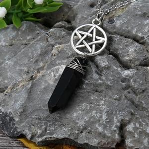 Black Tourmaline Quartz Wicca Charm Pendant Necklace Rough Stone Raw Crystal Pendants with 70cm Chain