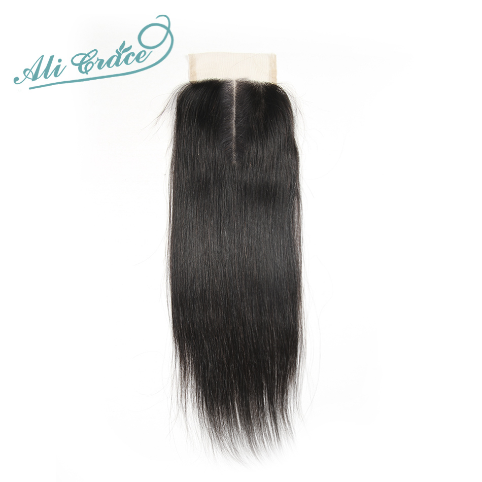 ALI GRACE Brazilian Straight Lace Closure Natural Color 10 to 22 Inch 4*4 Middle Part Swiss Lace Free Shipping Remy Hair
