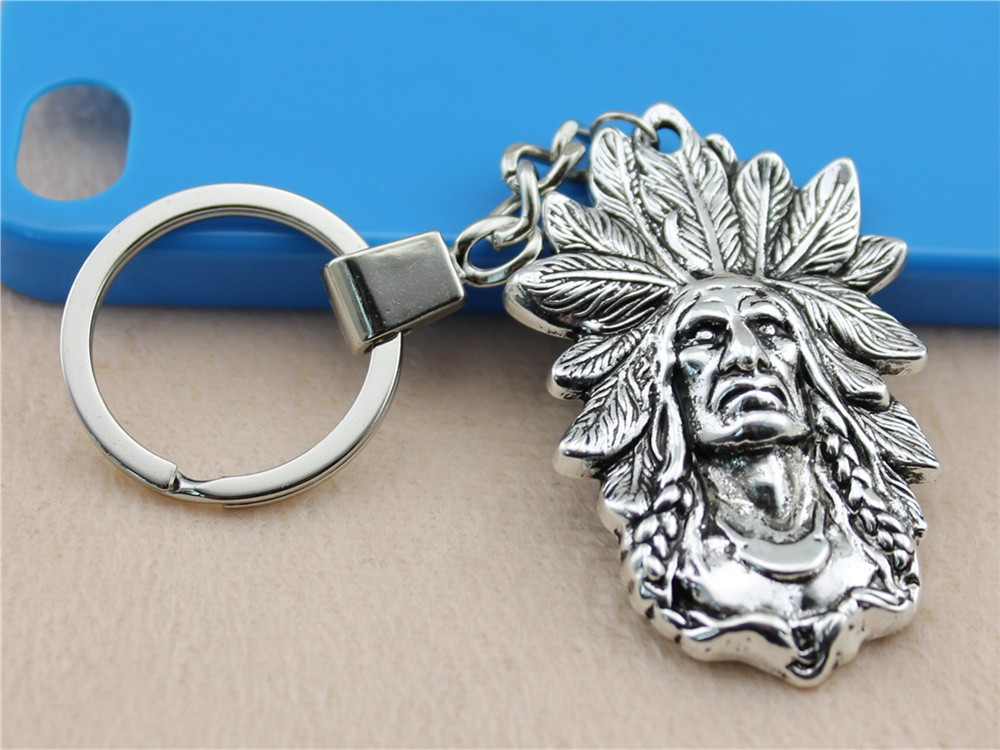 Vintage 58x35mm Silver Indian Chief Key Rings At All Costs Wysiwyg Men Jewelry Key Chain New Fashion Metal Key Chains Accessory