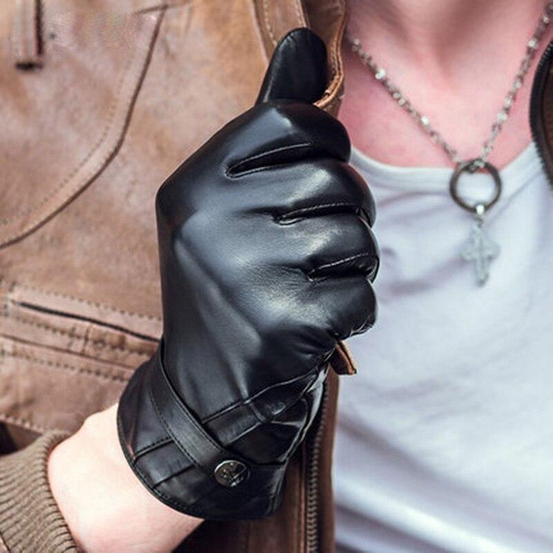 Peau de mouton épaissir chaud moto conduite gants hommes hiver mode noir en cuir véritable gant pour homme NM790-5