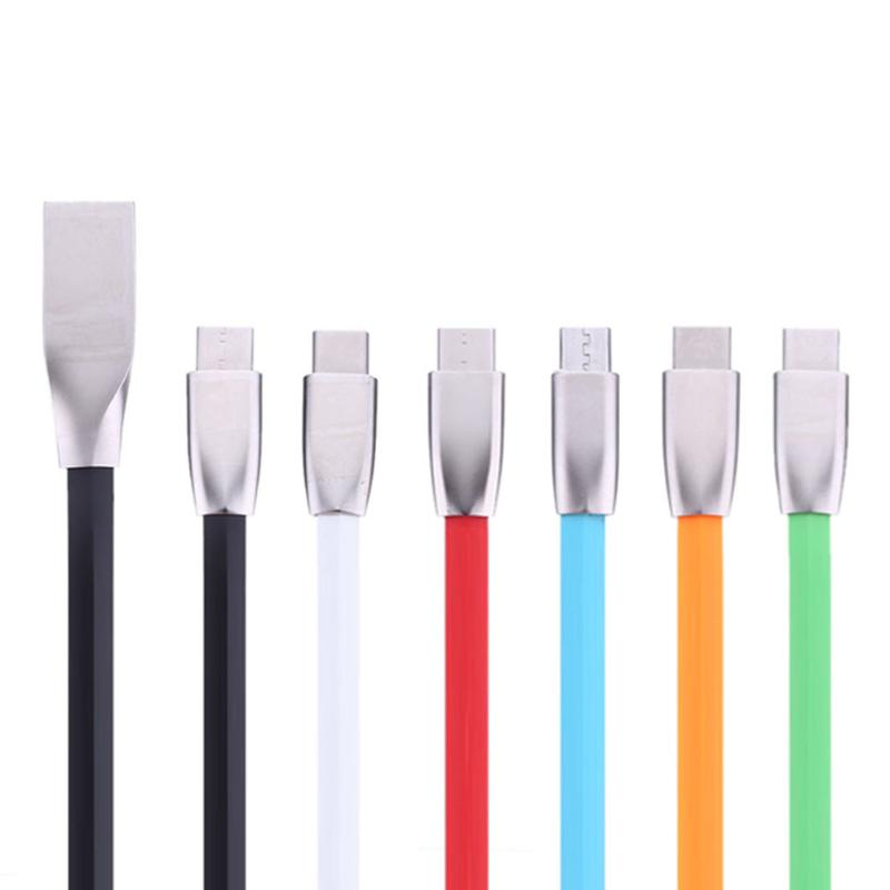 Portable Type C Charge Cable USB 3.1 Cable Cellphone Data Charging Cable Zinc Alloy For Phone Black/White/Blue/Red/Green/Orange