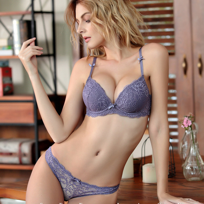 876af660d642a Women sexy Lace lingerie Push Up padding Cup bra and panties set Lounge Bra  and Panties Embroidery Bra Set underwear intimates