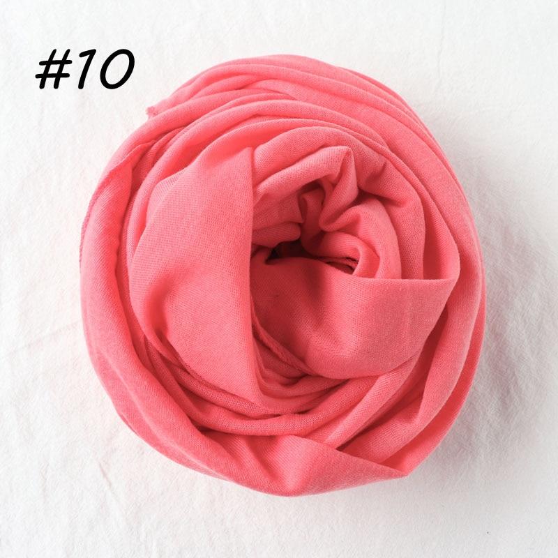 Один кусок хиджаб шарф Макси шали шарфы женские мусульманские хиджабы мусульманская леди палантин splid однотонное Джерси хиджаб 70x160 см - Цвет: 10 watermelon