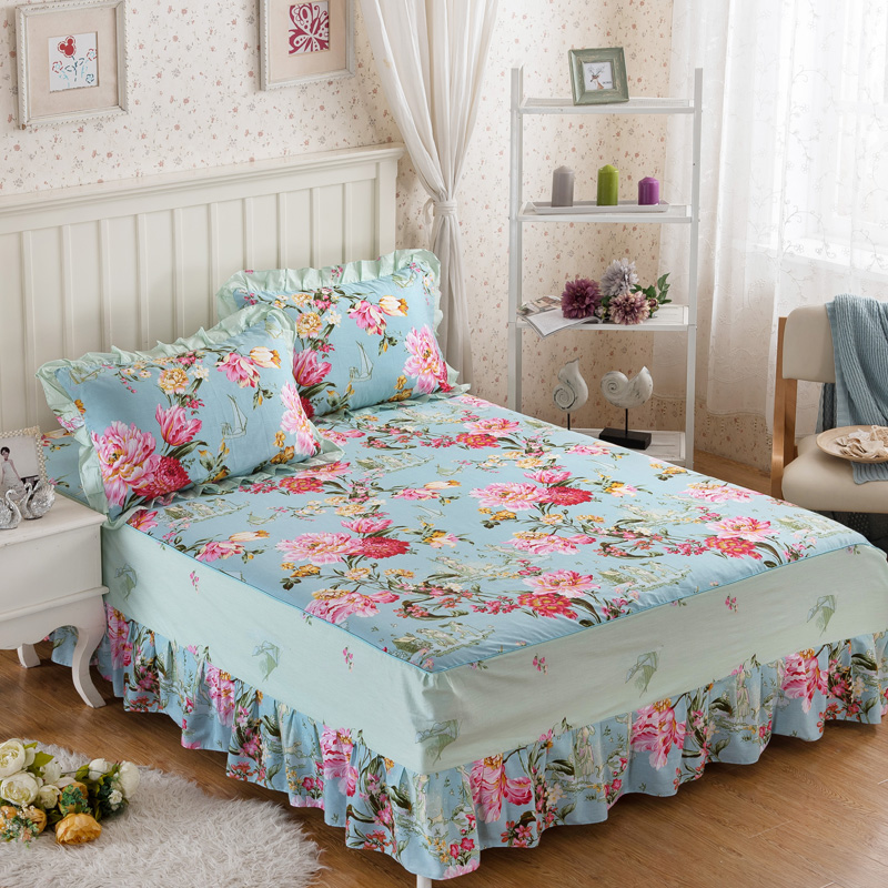 Cotton bed skirt cover bedspread mattress cover elegant ...