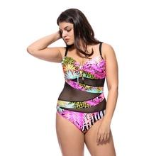 2019 New Arrival Plus Size XXXXL Sexy Bikini Swimsuit Women Mesh Slim Swimwear Summer Halter Monokini Print Biquni Bathing Suit